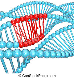 Baldness - Hereditary Genetics in DNA Strand - The word...