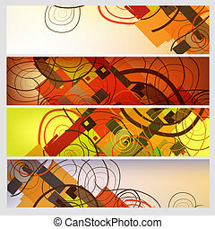 Abstract banners set - Set of 4 abstract horizontal banners
