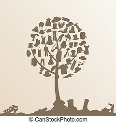 Clothes tree - Clothes on tree branches. A vector...