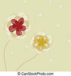Flower a background3 - Two flowers on a beige background. A...