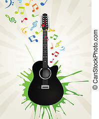Guitar3 - Notes take off from a guitar. A vector...