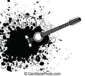 Guitar5 - Guitar from a black stain. A vector illustration