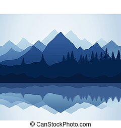 Mountain - Kind on mountains and lake A vector illustration