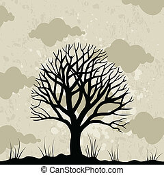 Old tree against the grey sky. A vector illustration