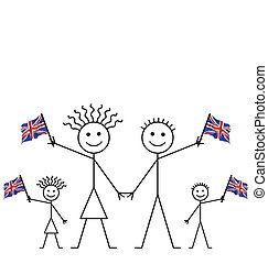 waving Union Jack flags - Family celebrating an event waving...