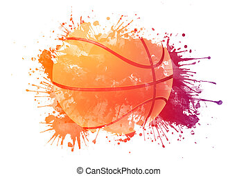 Basketball ball in Watrcolor Isolated on White Background.