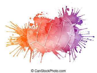 Volleyball Ball in Watrcolor Isolated on White Background.