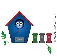recycling wheelie bins - Bird house with recycling wheelie...