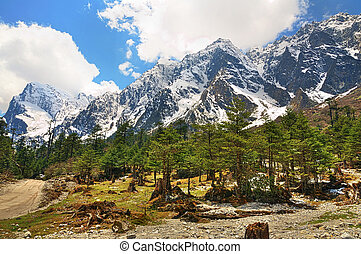 The Himalayas in Sikkim - Beautiful high dynamic image of...