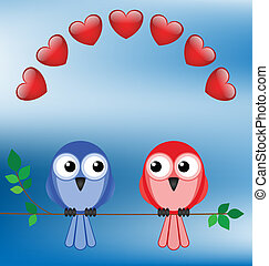 love birds  - Two love birds sat on a branch