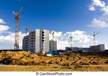 Building of many-storeyed houses - Building site on which...