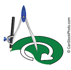 recycling sign with a compass - Task of drawing a recycling...