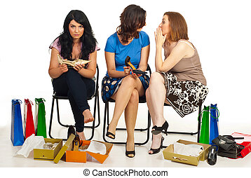 Two women gossip about their friend - Two women gossip or...