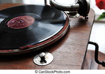 vintage gramophone - Close up at vintage gramophone playing...