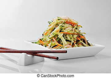 vegetable salad with shrimp - bowl of shrimp and vegetables...