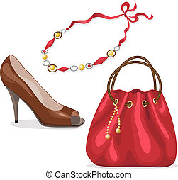 Set of woman's accessories. - Handbag, shoe and necklace in...
