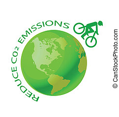 reduce CO2 - Green earth with pushbike reduce CO2 message