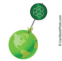 Green earth recycling sign isolated on white background