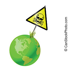 Green earth toxic sign isolated on white background