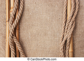 frame made of ropes and bamboo with a canvas of burlap