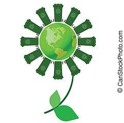 wheelie bin flower - Recycling wheelie bin flower with green...