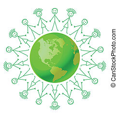 Environmental green earth surrounded by people holding hands