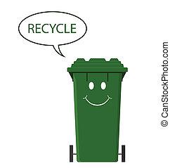 Happy recycling bin