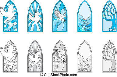 Stained Glass Windows - Vector art depicting isolated...