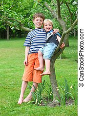 Two kids in the garden