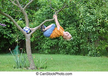 Brave young boy - A young boy climbs a tree