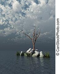 dead tree in dark water - 3d illustration
