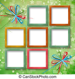 cheerful card with multicoloured frames and stars