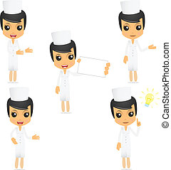 set of funny cartoon nurse in various poses for use in...