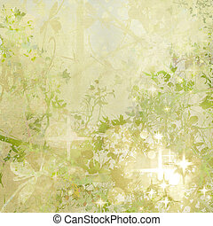 Sparkly Garden Art Textured Background - Sparkly Green and...