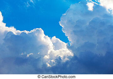Scenic blue sky with clouds - Scenic deep blue sky with...