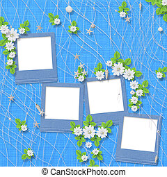 grunge slides from old papers with flowers on the abstract background