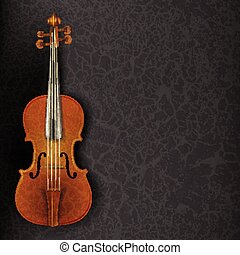 abstract grunge music background with violin on grey