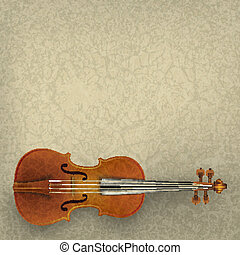 abstract grunge music background with violin on beige