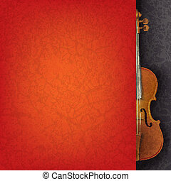 abstract grunge music background with violin on black