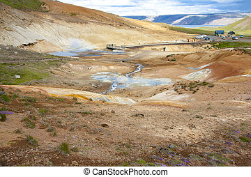 Geothermal area, colorful landscape - Iceland.