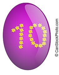 Number 10 - Purple Easter egg with number 10