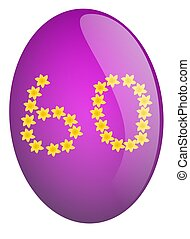 Number 60 - Purple Easter egg with number 60