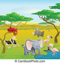 Cute African safari animal cartoon characters scene. Series...