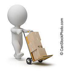 3d small people - hand truck - 3d small person carrying the...