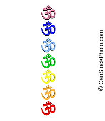 Colored om / aum in chakra column - Colored aum / om in...