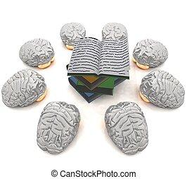 brains near books - three-dimensional brains near books