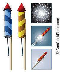 Fireworks rockets with sequence - A rocket in two styles...