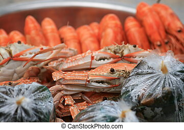 Cooked crabs and prawns, Thailand - Cooked crabs and prawns...
