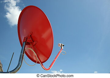 Sky TV dish, Thailand - Sky TV dish on a roof in Bangkok,...