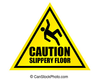 caution slippery floor sign - yellow and black caution...